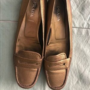 Prada Gold Driving Loafers